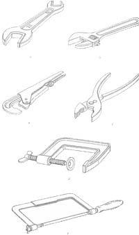 Инструменты для работы с трубами: а – гаечный ключ двухсторонний; б – гаечный ключ разводной; в – ключ трубный; г – пассатижи; д – трубцина; е – ножовка по металлу
