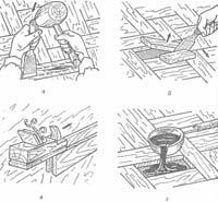 Основные операции при ремонте паркетных полов: а, 6 - удаление повреждённой клепки, в - снятие гребня с клепки, г — заливка, битумной мастики