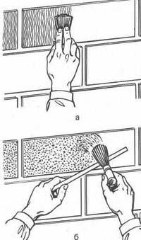 Способи фактурної обробки фасадних приміщень: а - за допомогою твердої кисті; б - набрызг щіткою