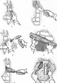 Последовательность выполнения операций при разрезке трещин и ремонте штукатурки: а - разрезка шпателем; б - подчистка при помощи зубила и молотка; в - смачивание поверхности водой; г - заделка небольшой трещины гипсовым раствором; д - нанесение штукатурного раствора на незначительные площади поверхности с помощью полутерка; е - затирка отремонтированной поверхности