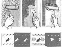 Атрыманне фактурных паверхняў і набіванне малюнка: а - разделка паверхні з дапамогай футравага валіка; бы - разделка паверхні з дапамогай цвёрдай шчоткі (тарцаванне); у - накатка валікам; г - набіванне малюнка з дапамогай трафарэта
