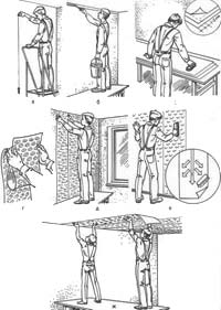 Послідовність операцій при обклеюванні шпалерами й іншими плівковими матеріалами: а - нанесення вертикальної лінії за допомогою схилу; б - проклейка поверхні в границі верху шпалер; в - нанесення клею на тильну сторону полотнищ; г - складання полотнища шпалер для підношення; д - наклейка полотнища зі сполученням малюнка; е - пригладжування наклеєного полотнища; ж - обклеювання стелі
