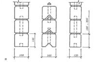 Типы соединений брусчатых стен: а - соединение шпонками отдельных брусьев