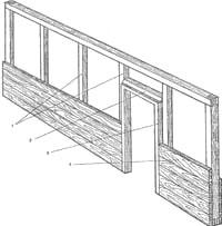 Установка каркасно-обшивной перегородки: 1-стойка; 2-перемычка; 3-дверная коробка; 4 – доска