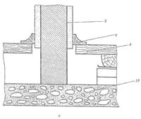 Гипсовая перегородка: а - общий вид; б; в; г; - детали; 1 – гипсовая плита; 2 – штукатурка; 3-дверная коробка; 5 – пакля; 6-перемычка; 7 - наличник; 8 – плинтус; 9 – пол; 10 - бетонная основа