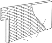 Цагляная перагародка: 1 - тынкоўка; 2 - дзвярная скрынка; 3 – цагліна