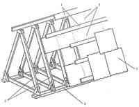 Конструктивні елементи даху: 1 - решетування; 2 – настил; 3 - шифер; 4амауэрдат; 5 – крокви