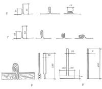 Устройство металлической кровли: 6 – одинарный фальц; 7 – двойной фальц; 8 – клямеры; 9 – костыли; 10 – обрешетка; 11 - лежачий фальц; 12 - стоячий фальц; 13 - клямеры