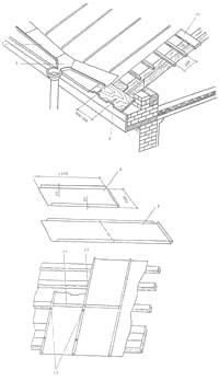 Прылада металічнага даху: 1 – насценны жолаб; 2 – латок; 3 – кропельніца; 4 – карціна; 5 – падвойная карціна;