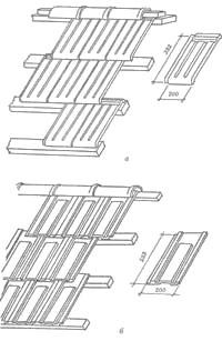 Чарапічны дах: а – з пазовой штамповачной чарапіцы; бы – з пазовой істужачнай чарапіцы